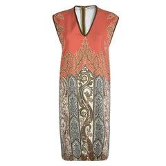 Etro Orange Printed Sleeveless V-Neck Dress M