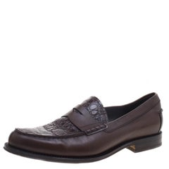 Tod's Brown Reptile Leather Penny Loafers Size 44