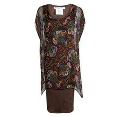 Dior Multicolor Floral Printed Silk Kaftan Style Dress L