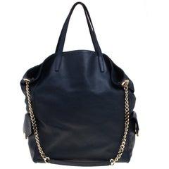 Carolina Herrera Navy Blue Leather Envelope Pocket Tote