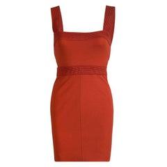Versace Orange Sleeveless V-Neck Bodycon Dress S