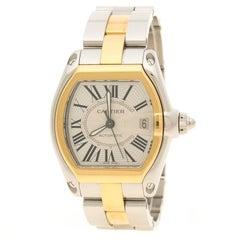 Cartier Silver Two Tone Roadster Automatic Men's Wristwatch 38 mm