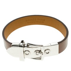 Hermes Java 10 Brulee Chamonix Calfskin Palladium Plated Bracelet XS