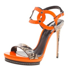 Orange Patent and Embossed Roccia Leather Platform Ankle Strap Sandals Size 38