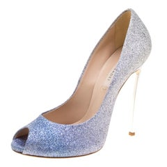Casadei Blue and Silver Ombrè Glitter Pegasus Peep Toe Pumps Size 39