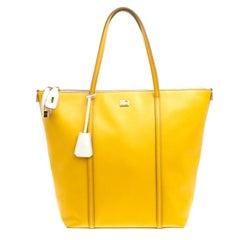 Dolce und Gabbana gelb/aus weißem Leder Miss Escape Tote Tasche