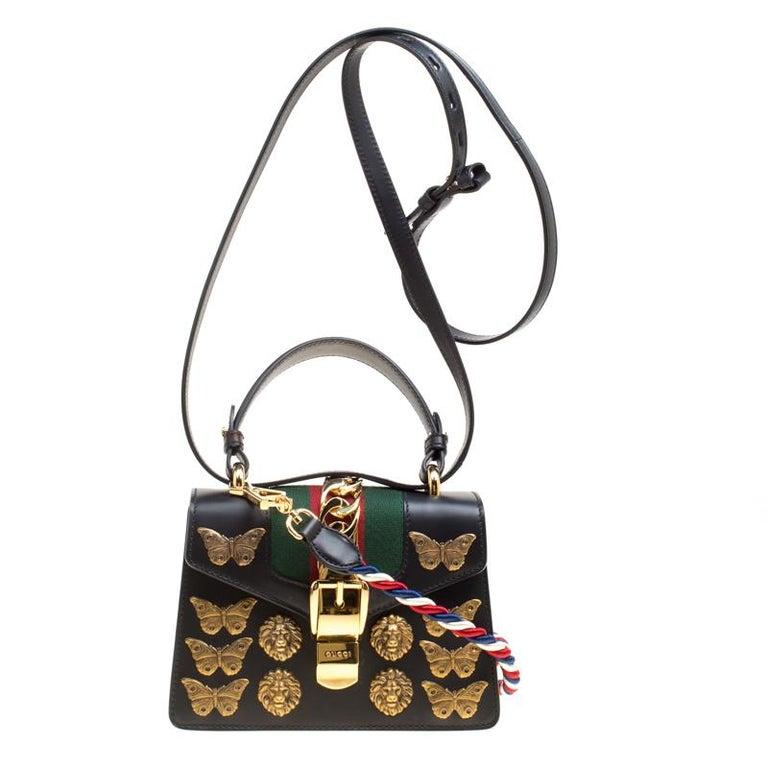 876bd725884f Gucci Black Leather Mini Sylvie Animal Stud Embellished Top Handle Shoulder  Bag For Sale