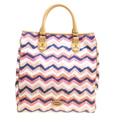 Missoni Multicolor/Beige Printed Canvas and Leather Tote