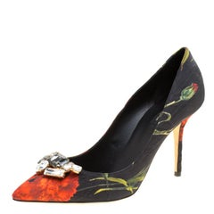 Dolce and Gabbana Floral Print Jacquard Fabric Crystal Embellished Pumps Size 41