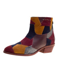 Zadig and Voltaire Multicolor Suede and Leather Patchwork Teddy Ankle Boots Size