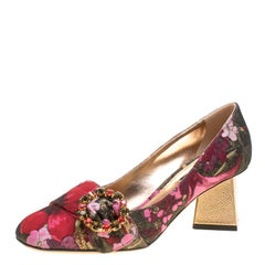 Dolce and Gabbana Floral Jacquard Fabric Block Heel Pumps Size 37.5
