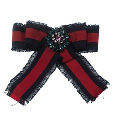 Gucci Crystal Blue & Red Web Grosgrain Frayed Bow Brooch