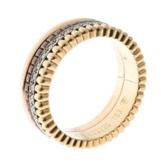 Boucheron Quatre Classique Diamonds 18k Three Tone Gold Band Ring Size 53
