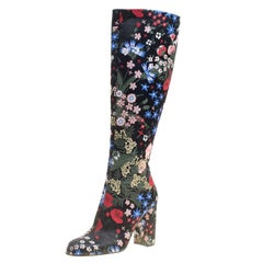 Valentino Black Spring Garden Brocade Knee Length Boots Size 37
