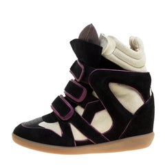 Isabel Marant Two Tone Suede and Leather Bekett Wedge Sneakers Size 35