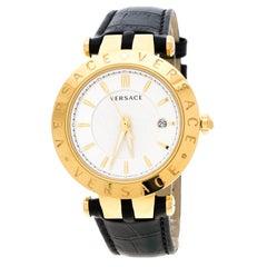 Versace Silver White Gold Plated Steel V-Race VQP Men's Wristwatch 42 mm