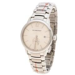 Burberry Silver Beige Stainless Steel Classic BU10004 Men's Wristwatch 40 mm
