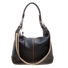 Tod's Black Leather Medium Miky Top Handle Shoulder Bag