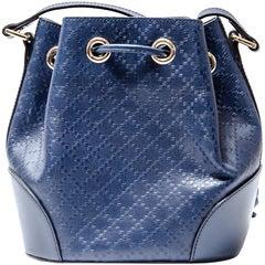 Gucci Blue Diamante Textured Leather Medium Hilary Bucket Bag