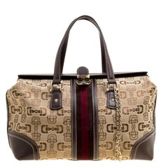 Gucci Beige/Brown Horsebit Canvas and Leather Large Treasure Boston Bag