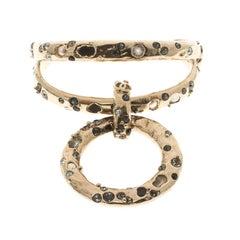Chanel Crystal Embedded Gold Tone Open Cuff Charm Bracelet