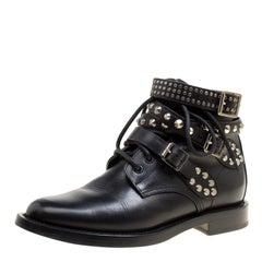 Saint Laurent Paris Black Leather Studded Rangers Ankle Boots Size 36.5