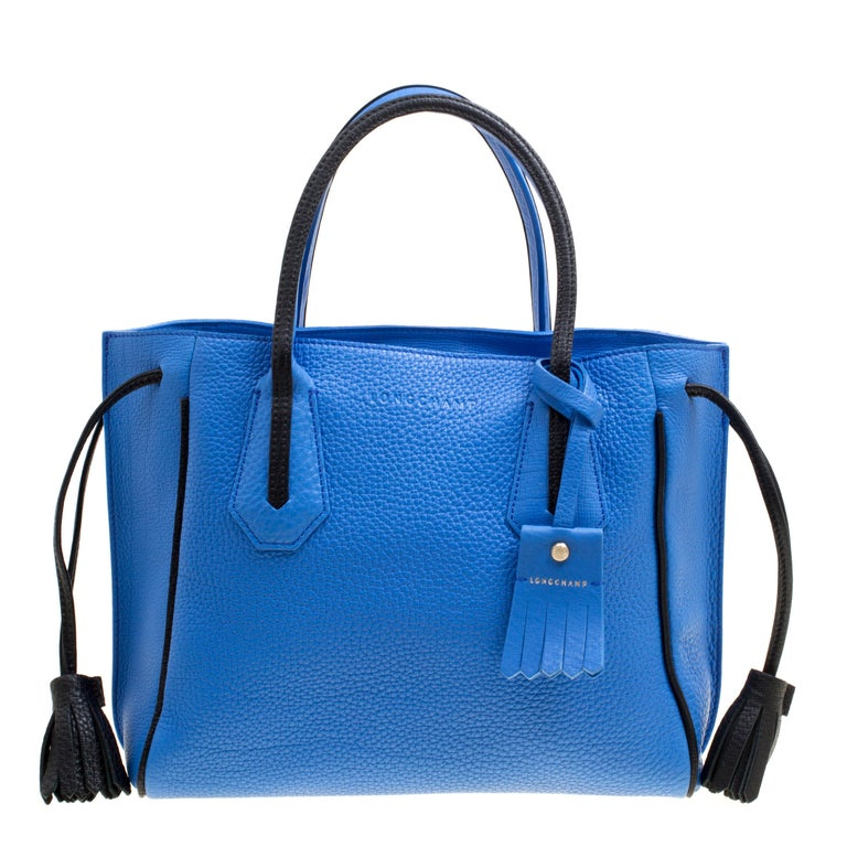 Longchamp Blue Textured Leather Penelope Fantaisie Tote For Sale At