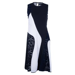 Derek Lam Mixed Lace And Jersey Crepe Paneled Dress M