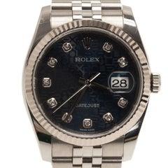 Rolex Blue Stainless Steel Datejust Women's Wristwatch 36MM