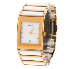 Rado White Mother of Pearl Gold Plated Steel Ceramic Integral Jubile R20791901 W