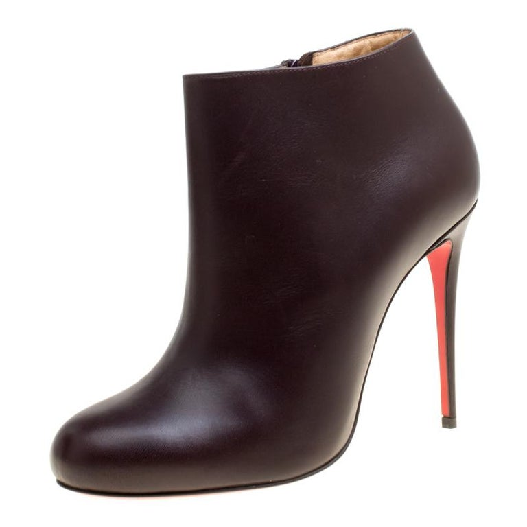 c9b714a060c Christian Louboutin Dark Brown Leather Belle Ankle Boots Size 37