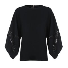 Elie Saab Black Wide-Sleeved Top M