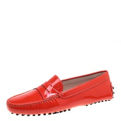 Tod's Orange Patent Leather Penny Loafers Size 37