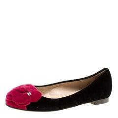 Chanel Black/Pink Velvet CC Camelia Flower Ballet Flats Size 36.5