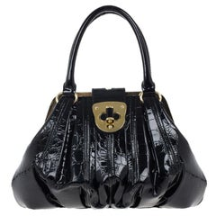 Alexander McQueen Black Patent Elvie Leather Bag