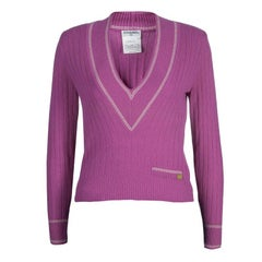 Chanel Pink V Neck Cashmere Sweater XS