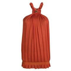 Roberto Cavalli Orange Plisse Knit Knotted Sleeveless Top S