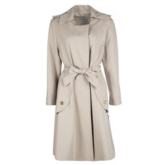 Yves Saint Laurent Beige Wool Belted Trench Coat L