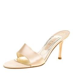 Gina Beige Satin Peep Toe Slides Size 40