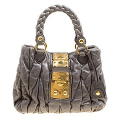 Miu Miu Grey Matelasse Leather Coffer Two Way Top Handle Bag