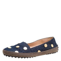 Tod's Dark Wash Denim Studded Espadrille Flats Size 36.5