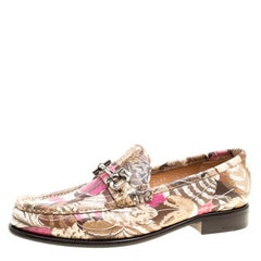 Salvatore Ferragamo Women Printed Leather Mason Gancio Bit Loafers Size 40