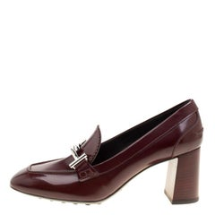 Tod's Burgundy Leather Gomma Maxi Double T Court Loafer Pumps Size 39.5