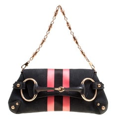 Gucci Black/Pink GG Canvas and Satin Small Limited Edition Tom Ford Horsebit Web