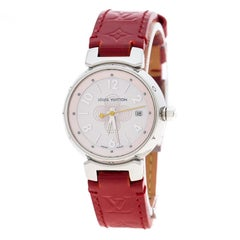 Louis Vuitton Pink Mother of Pearl Stainless Steel Tambour Q1216 Women's Wristwa