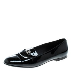 Chanel Black Patent Leather CC Smoking Slippers Size 38