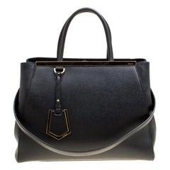 Fendi Black Saffiano Leather 2Jours Top Handle Bag