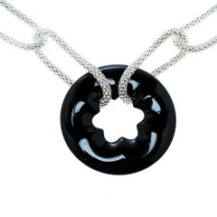 Montblanc Star Collection Onyx & Silver Chain Link Long Necklace