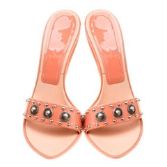 Casadei Peach Patent Leather Studded Mules Size 39