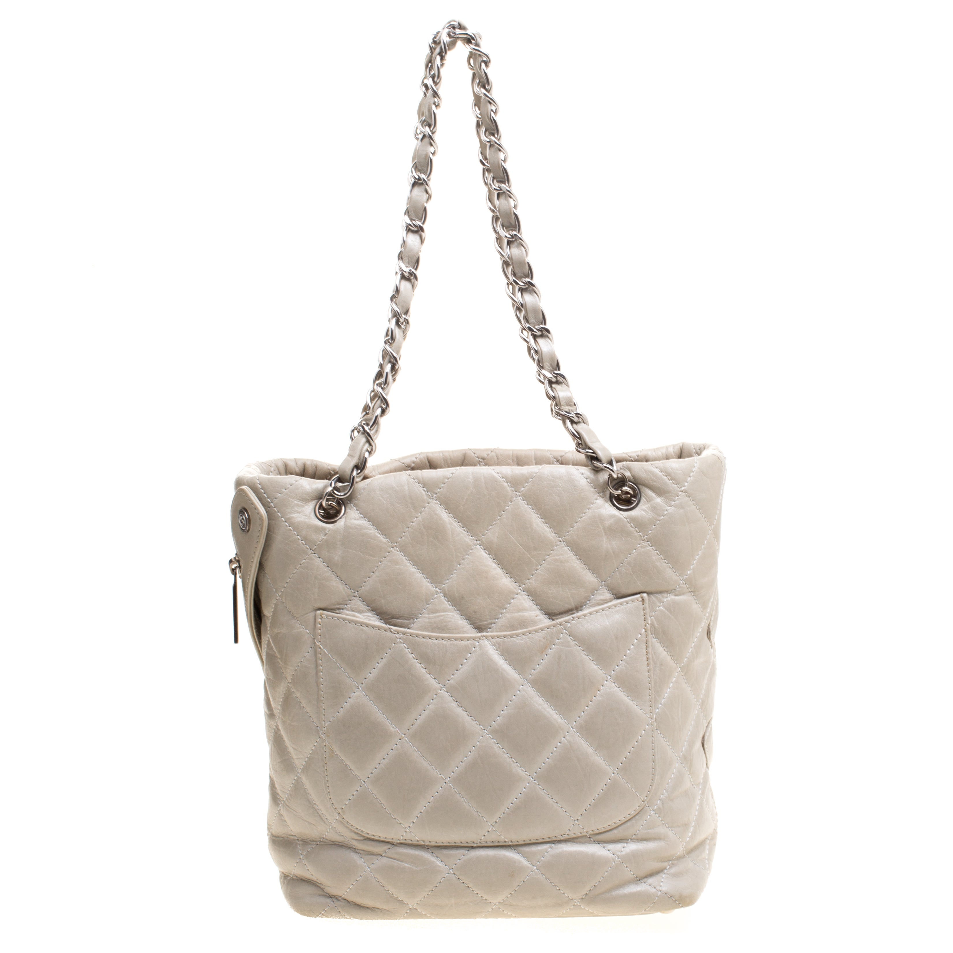 68483dd6ee73 Chanel Grey Quilted Leather CC Bucket Bag For Sale at 1stdibs